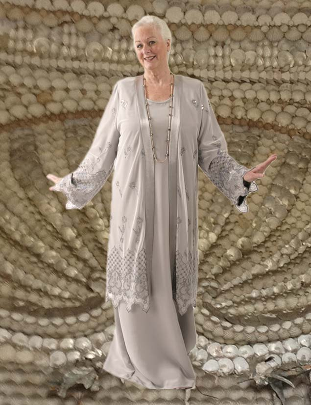 Special Occasion Formal Coat Sequin Lace Silver Size 14/16