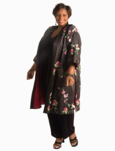 Lined Calf-Length Kimono Jacket Roses Embroidered Taffeta (Plus-Size)