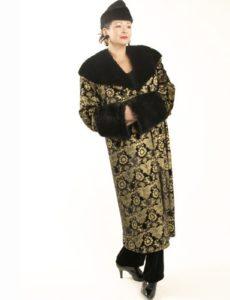 Lucky Seven Coat Black Gold Stamped Silk Velvet (Plus-Size)