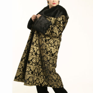 Plus Size Special Occasion Coat Silk Velvet Gold Stamped Black