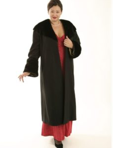 Plus Size Designer Long Coat Wool Faux Fur Black