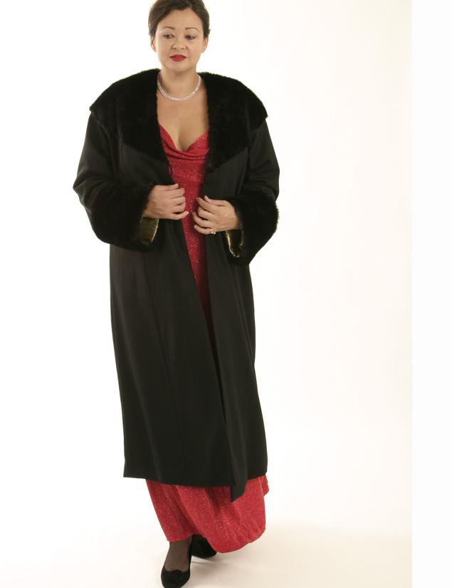 Plus Size Designer Long Coat Wool Faux Fur Black