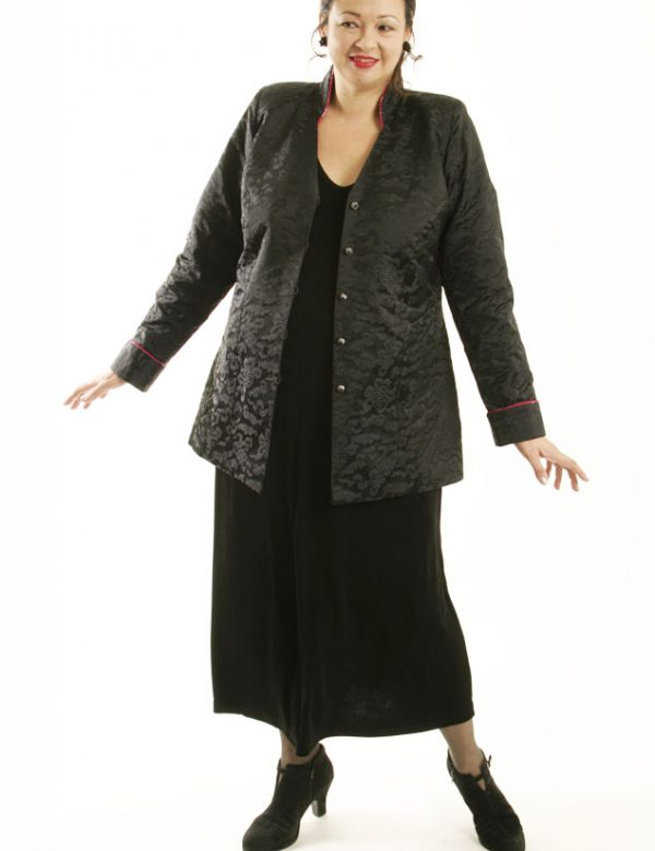 Plus Size Designer Mandarin Jacket Silk Jacquard Black