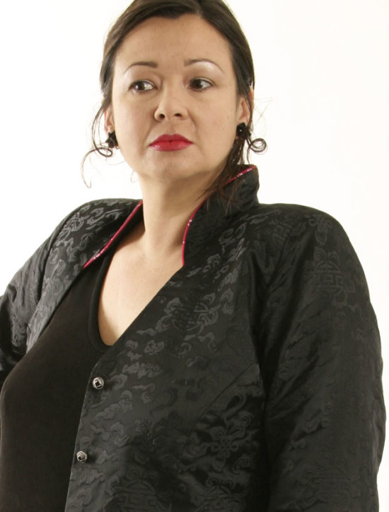 Mandarin Jacket Black Silk Jacquard (Plus-Size)