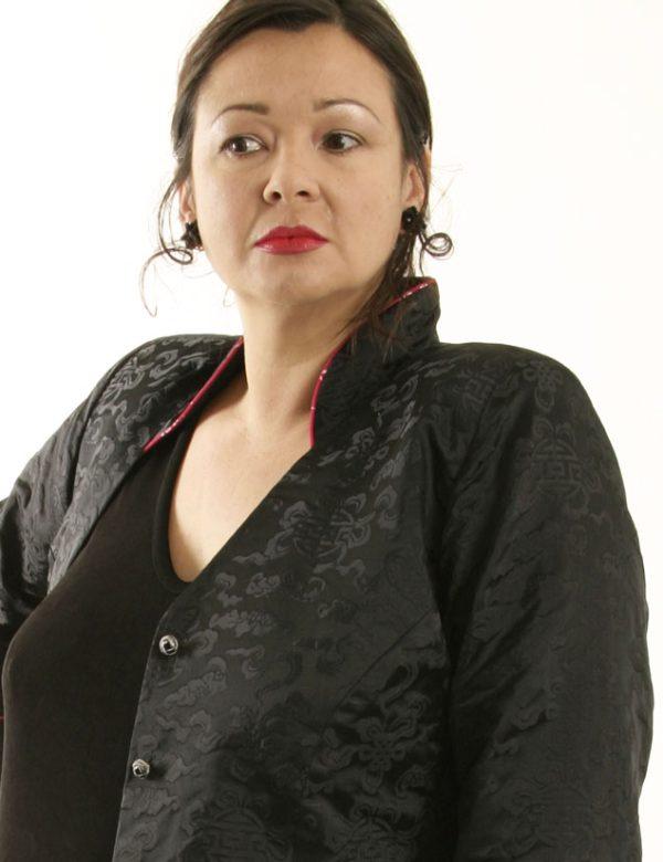Mandarin Jacket Black Silk Jacquard (Plus-Size)