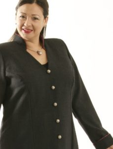 Mandarin Jacket Gray Wool (Plus-Size)