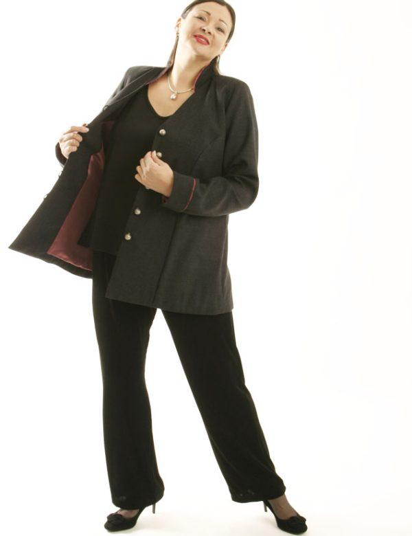 Designer Mandarin Jacket Lined Gray Wool Custom Made Sizes 14 – 30