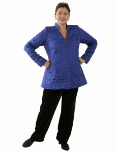 Mandarin Jacket in Cobalt Silk Jacquard (Plus-Size)