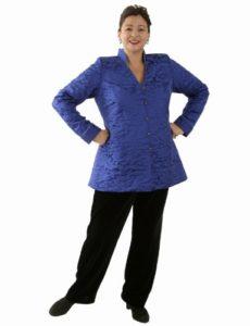 Mandarin Jacket in Cobalt Silk Jacquard (Plus-Size)