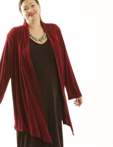 Scarf Jacket Merlot Slither (Plus-Size)
