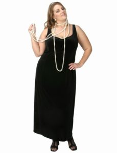 Sheath Slip Dress Black Lycra Velvet  (Plus-Size)
