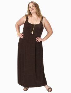 Sheath Slip Dress Chocolate Slither Square Neckline (Plus-Size)