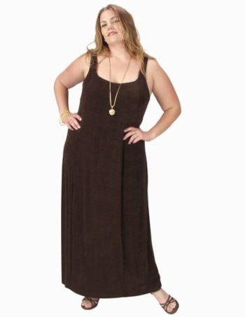 Sheath Slip Dress Chocolate Slither Square Neckline (Plus-Size)