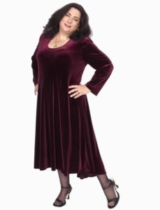 Short Curved Dress in Burgundy Lycra Velvet (Plus-Size)