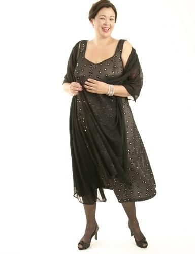 Slip Dress Black Diamante Mesh (Plus-Size)