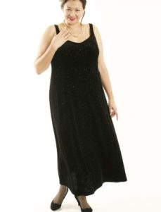 Slip Dress Black Gold Sparkles Lycra Velvet (Plus-Size)