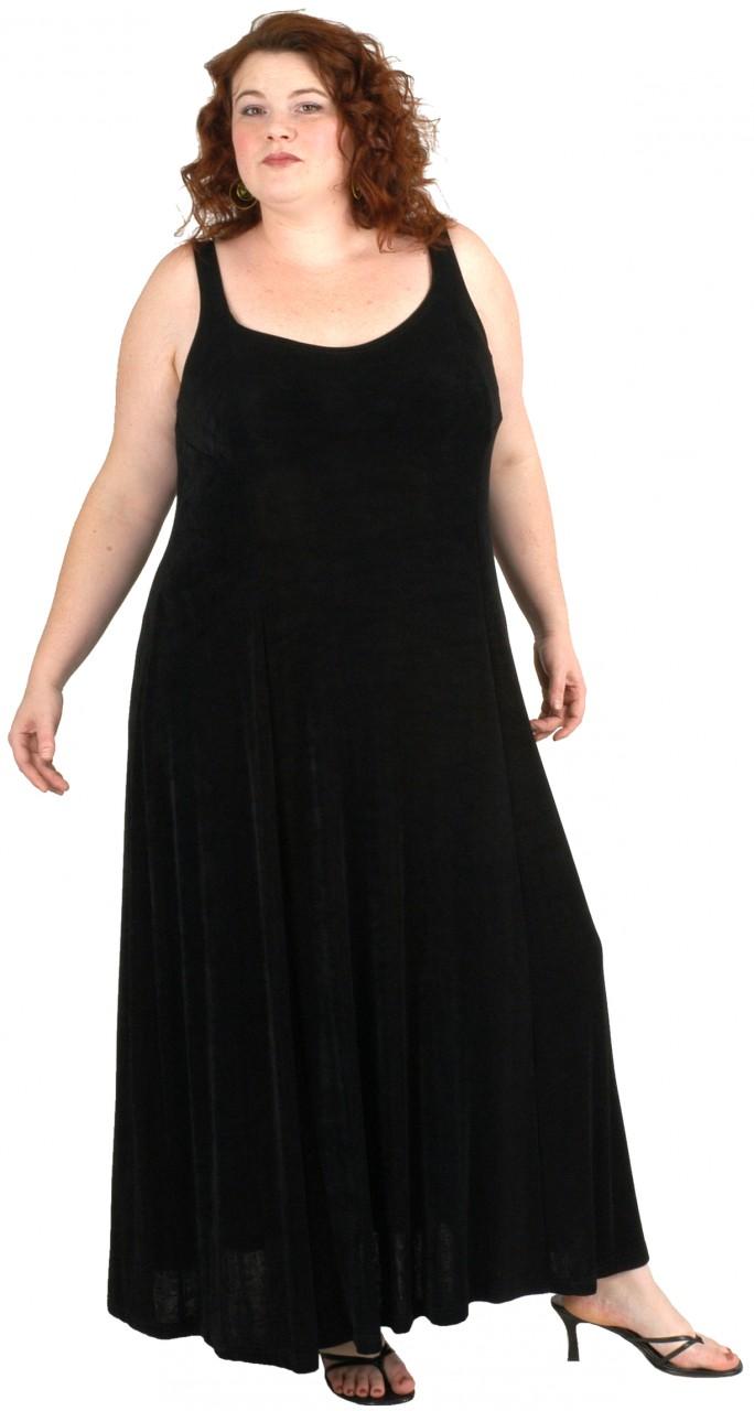 Slip Dress Black Slither  (Plus-Size)