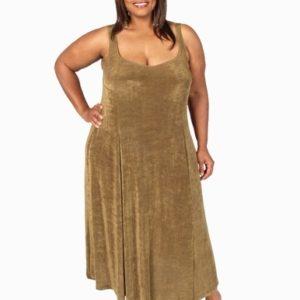 Plus Size Slip Dress Evening Ankle Length Bronze Slinky 14 – 36
