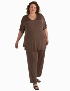 Straight Leg Pants in Taupe Slither (Plus-Size)