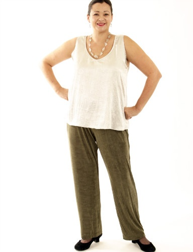 Straight Leg Pants Olive Slither (Plus-Size)