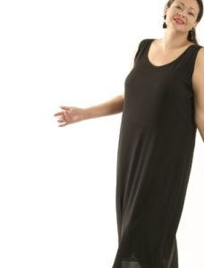 Tank Dress Black Stretch Silk (Plus-Size)