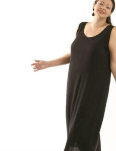 Tank Dress Black Stretch Silk (Plus-Size)