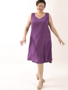 Tank Dress Fuschia Silk Knee-Length (Plus-Size)