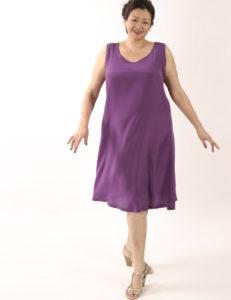 Tank Dress Fuschia Silk Knee-Length (Plus-Size)