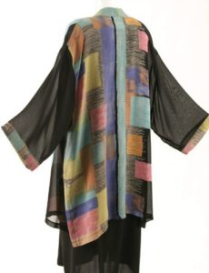 Tunic-Length Kimono Black with Brights Retro Rayon