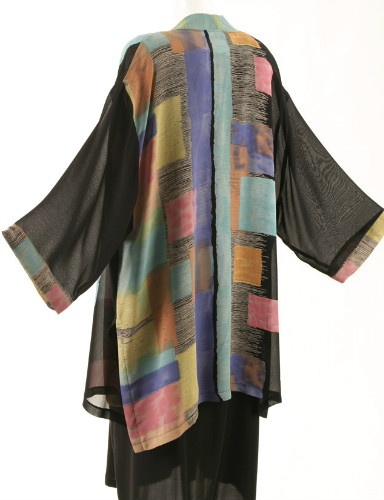 Tunic-Length Kimono Black with Brights Retro Rayon