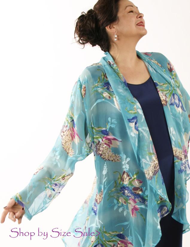 Drape Lapel Jacket Turquoise Floral  Silk Georgette Size 26/28
