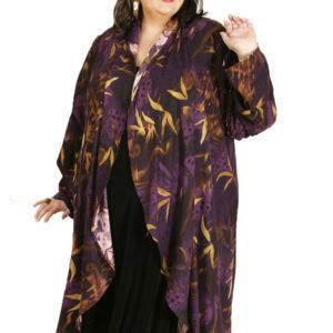 Plus Size Designer Drape Coat Floral Rayon Purple Gold