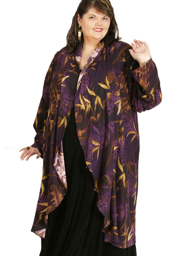 Plus Size Designer Drape Coat Purple Gold Rayon Floral Size 22/24