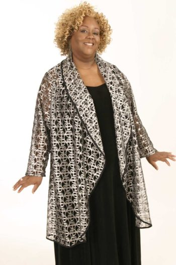 Plus Size Formal Special Occasion Evening Coat Metallic Lace Silver Sizes 14 – 28