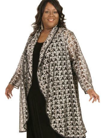 Plus Size Special Occasion Evening Coat Metallic Lace Silver