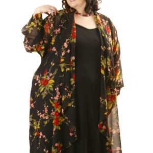 Plus Size Designer Drape Coat Rayon Japan Print Red Black
