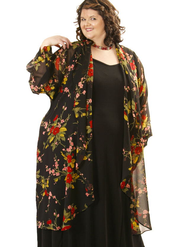 Plus Size Day Drape Coat Rayon Japan Print Red Black