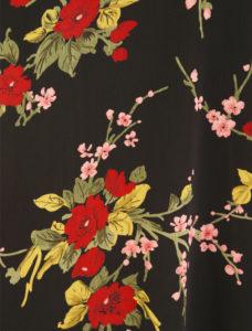 Plus Size Day Drape Coat Rayon Japan Print Red Black