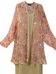 Plus Size Mother of Bride Jacket Floral Silk Peach Green Lilac