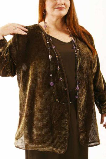 Plus Size Mother of Bride Jacket Dress Bronze Silk Velvet Burnout Sizes 22 – 32