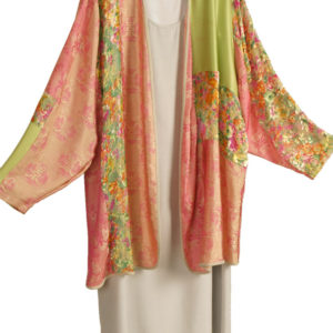Plus Size Special Occasion Jacket Silk Velvet Artwear Coral Green