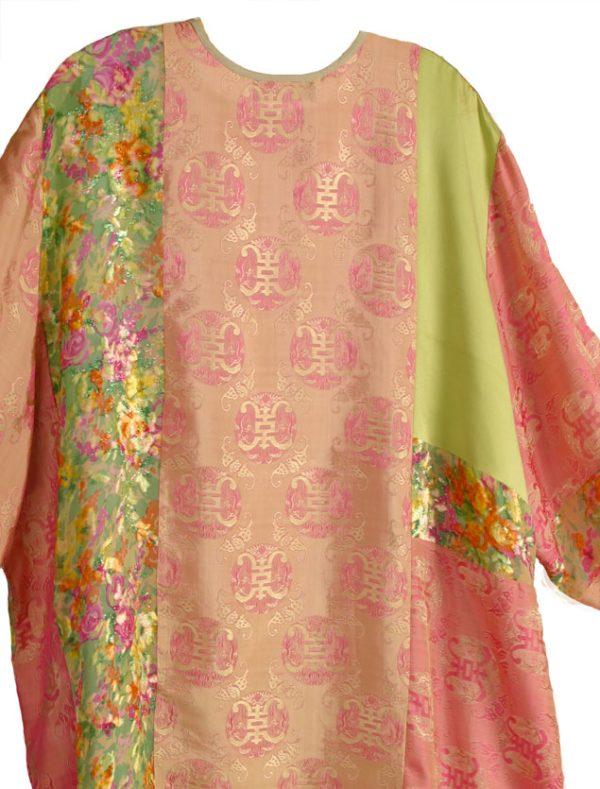 Plus Size Jacket French Silk Velvet Artwear Green Coral Pink