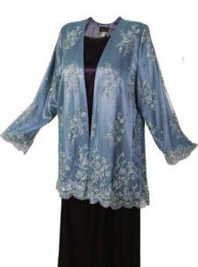 Mother of Bride Gabi Jacket Beaded French Lace Blue Size 18/20