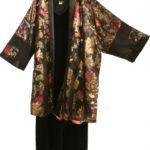 Plus Size Occasion Kimono Jacket French Silk Red Gold Black