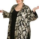 Plus Size Special Occasion Kimono Jacket French Silk Silver Gold