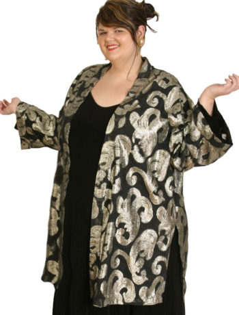 Plus Size Special Occasion Kimono Jacket French Silk Silver Gold