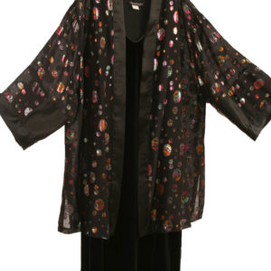 Plus Size Special Occasion Kimono Jacket French Silk Red Black Gold