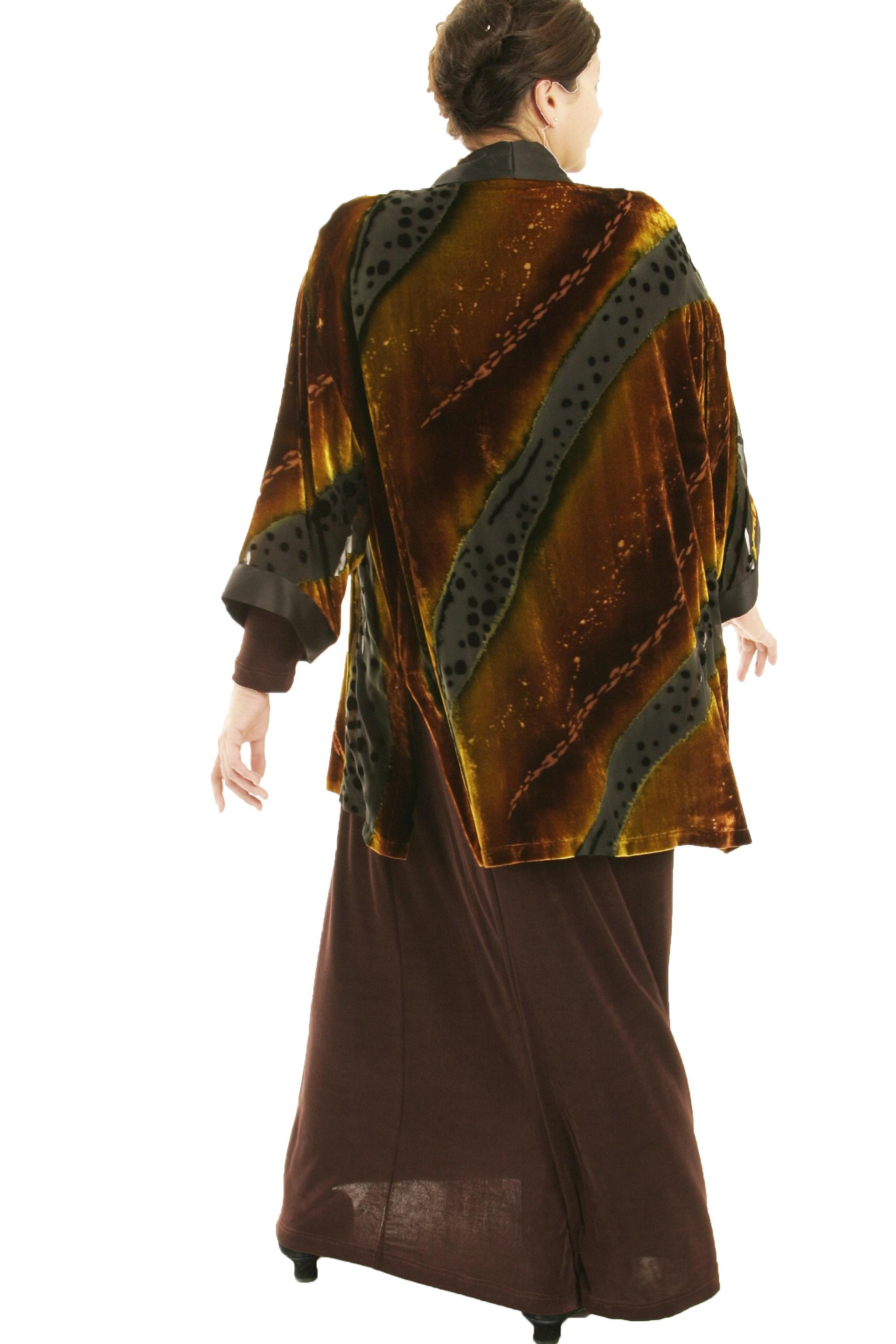 Plus Size Designer Kimono Jacket Volcano Silk Velvet