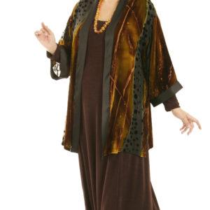 Plus Size Designer Kimono Jacket Volcano Silk Velvet Burnout Naturals