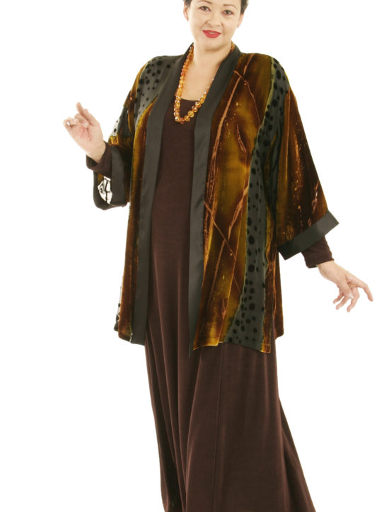 Dressy Kimono Jacket Volcano Silk Velvet Burnout Naturals Sizes 14/16, 18/20, 30/32